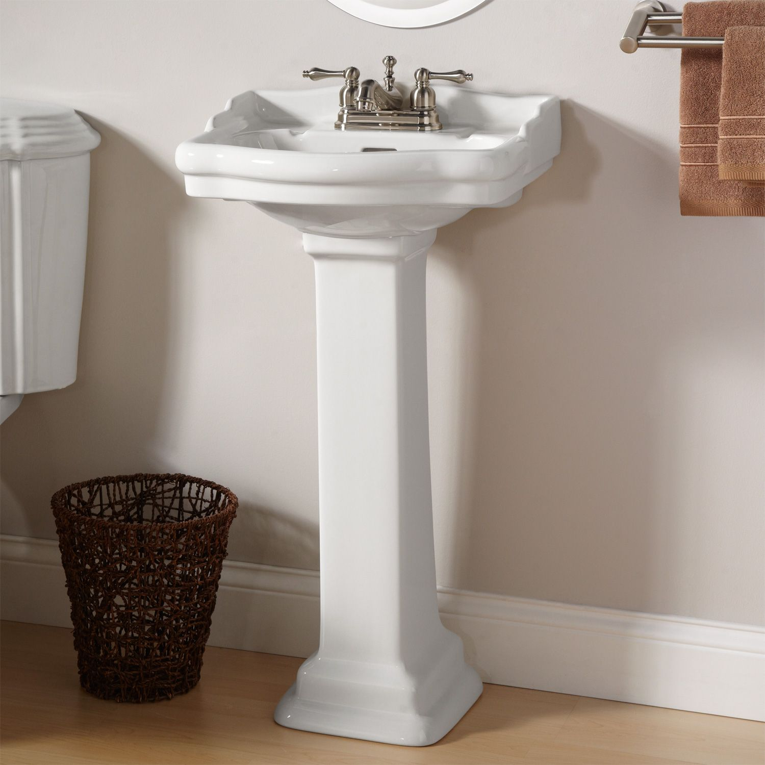 "Stanford Mini Pedestal Sink with 4"" Centers Half bath"