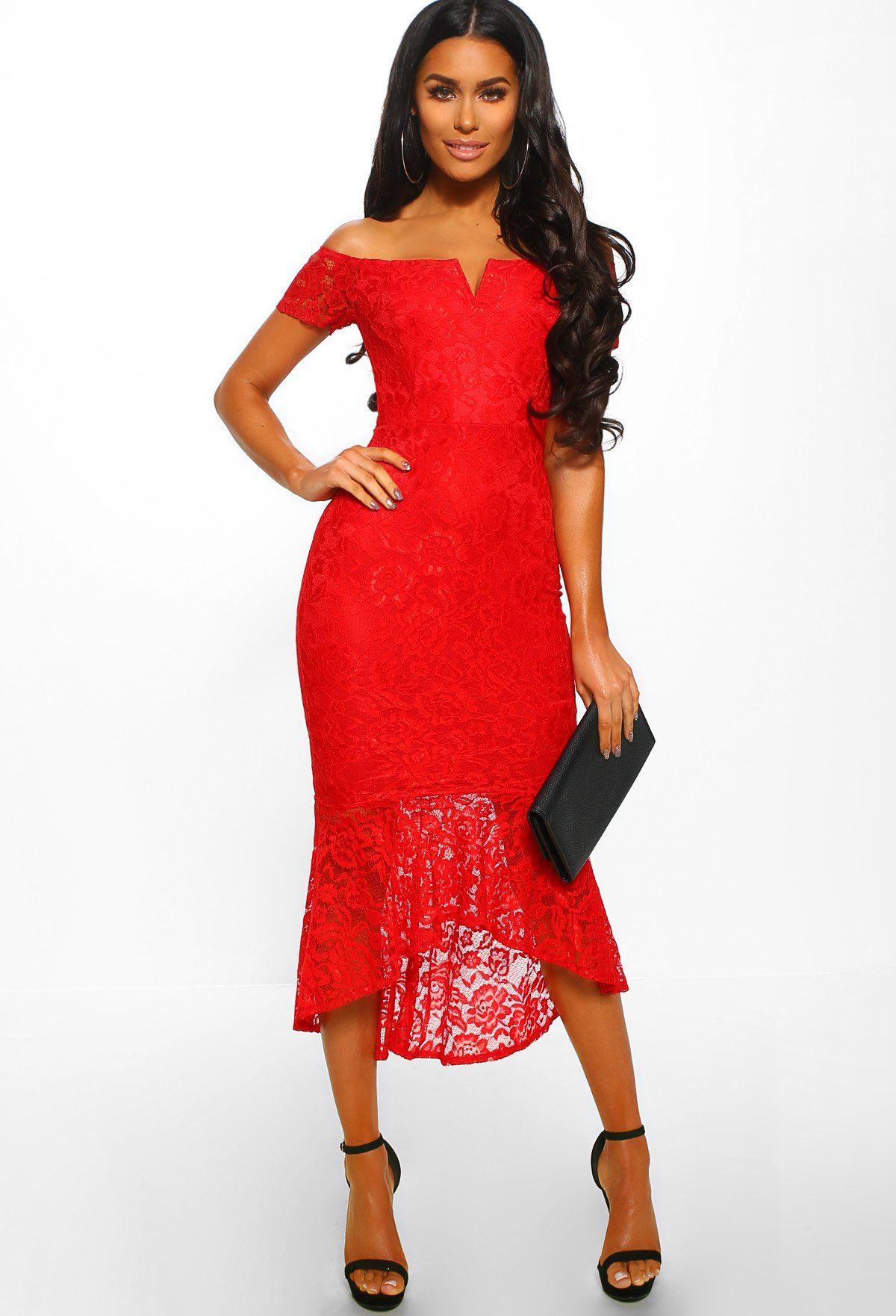 ce6df4b74d157 ... Pink Boutique UK. Hamptons Glamour Red Lace Bardot Fishtail Midi Dress