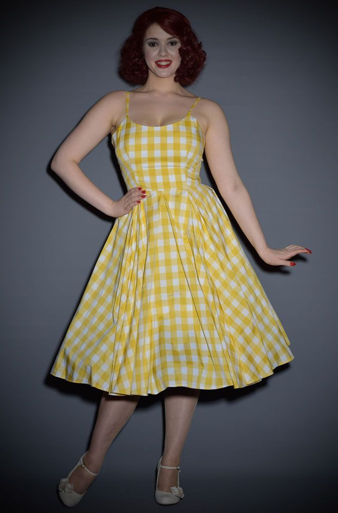 Priscilla Vintage Style 50 s dress in Lemon yellow gingham in 2019 ... bc7479475