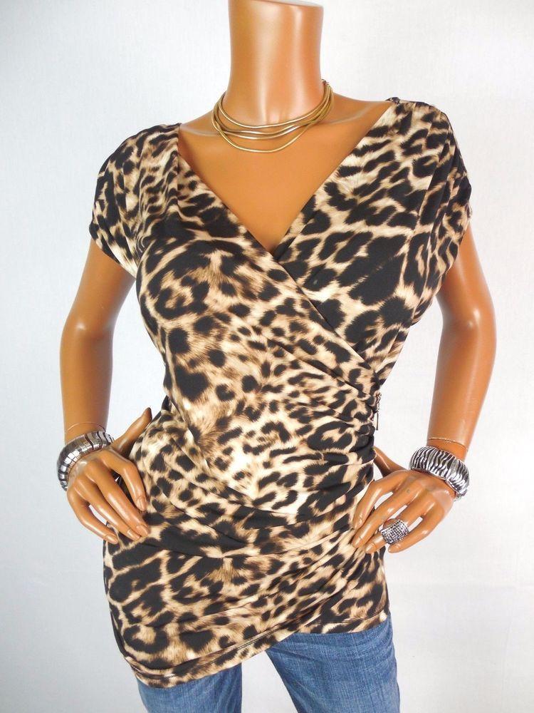 d8a151b30a68 ELLEN TRACY Womens Top XL SEXY Animal Print Shirt Stretch Black Tan  Sleeveless #EllenTracy #Blouse #Casual