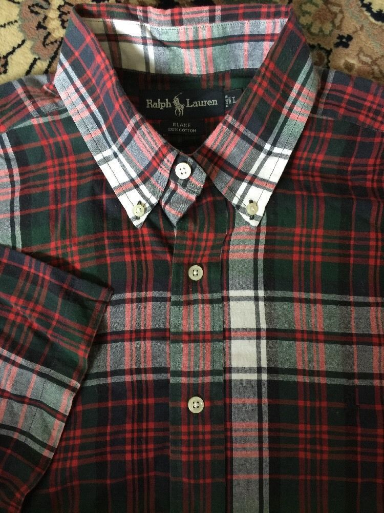 3145548a Mens RALPH LAUREN Blake Green Red Blue White Plaid Large Flannel Shirt S/S  Polo