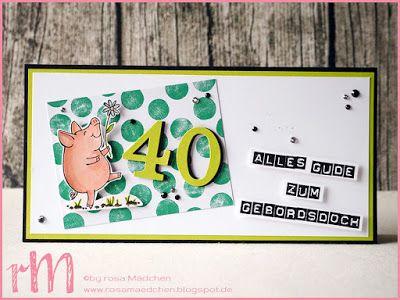 Stampin' Up! rosa Mädchen Kulmbach: fränkische Geburtstagskarte mit Glücksschweinchen, Labeler Alphabet und Memories & More Perfekte Tage