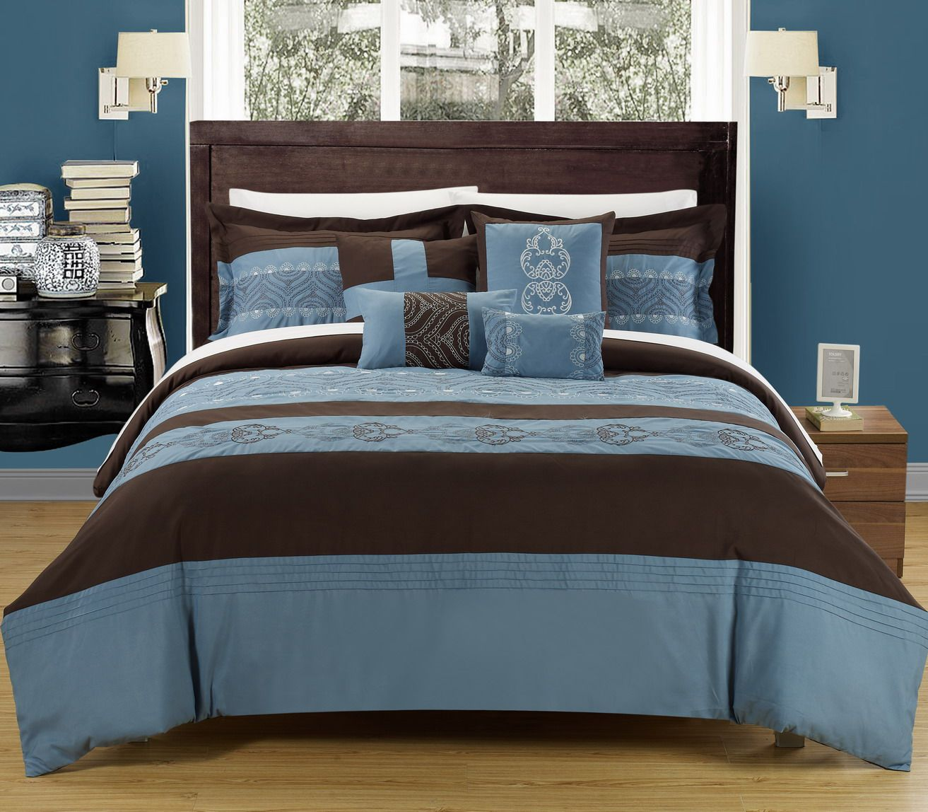 Embroidered Comforter Set Featuring Blue And Brown Tones