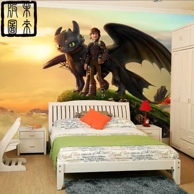 wie drachenz hmen fototapete 3d cartoon tapete wandbild designer kunst jungen kinderzimmer dekor. Black Bedroom Furniture Sets. Home Design Ideas
