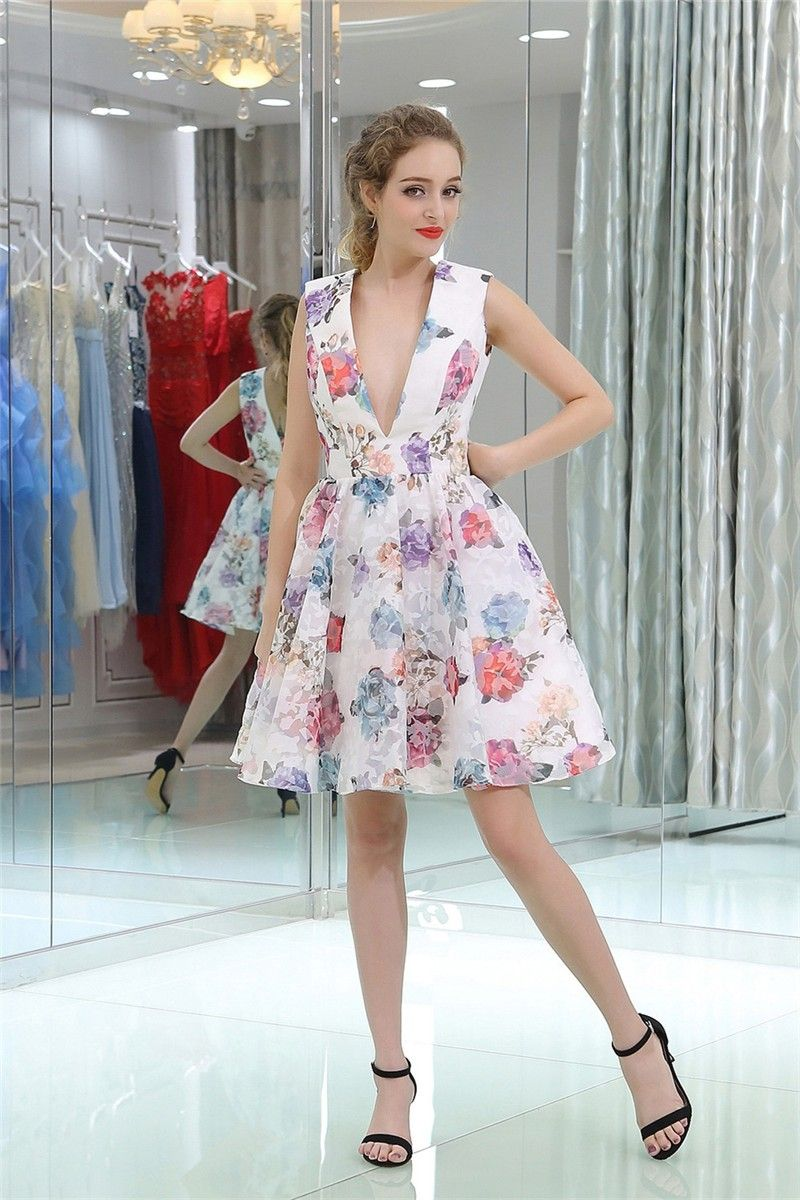 236aee82a8 Sexy Deep V Neck Short Floral Printed Party Prom Dress