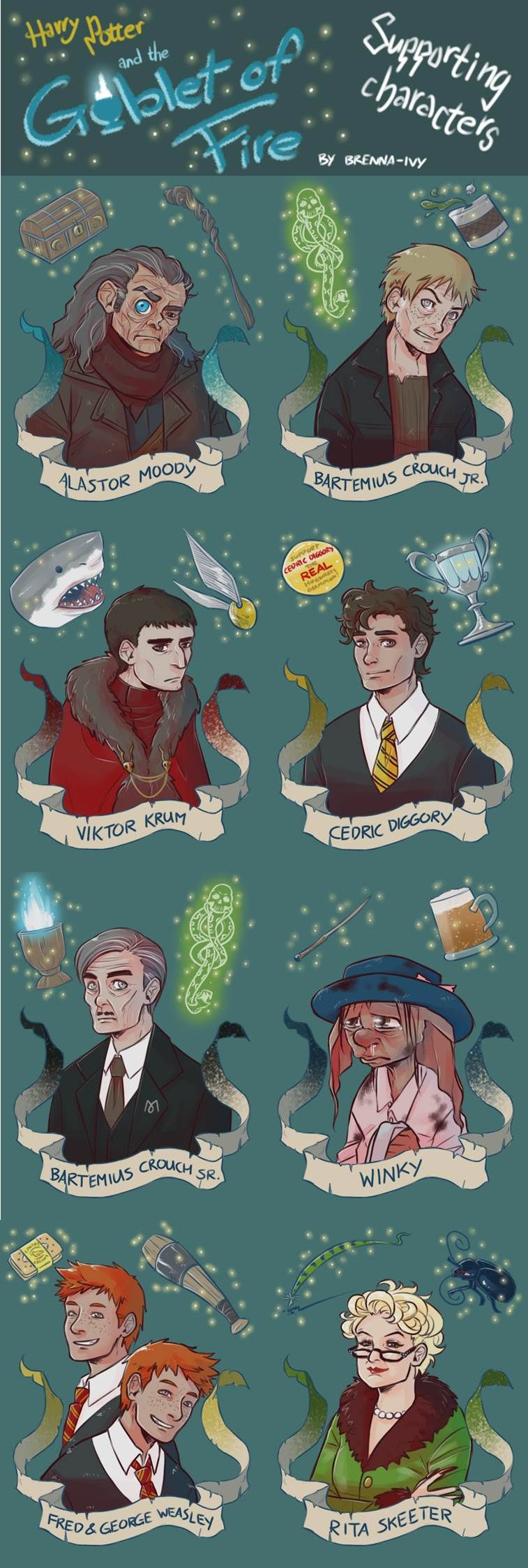 Harry Potter Moody Crouch Jr Krum Cedric Crouch Winky Fred George And Skeeter Harry Potter Illustrations Harry Potter Artwork Harry Potter Drawings
