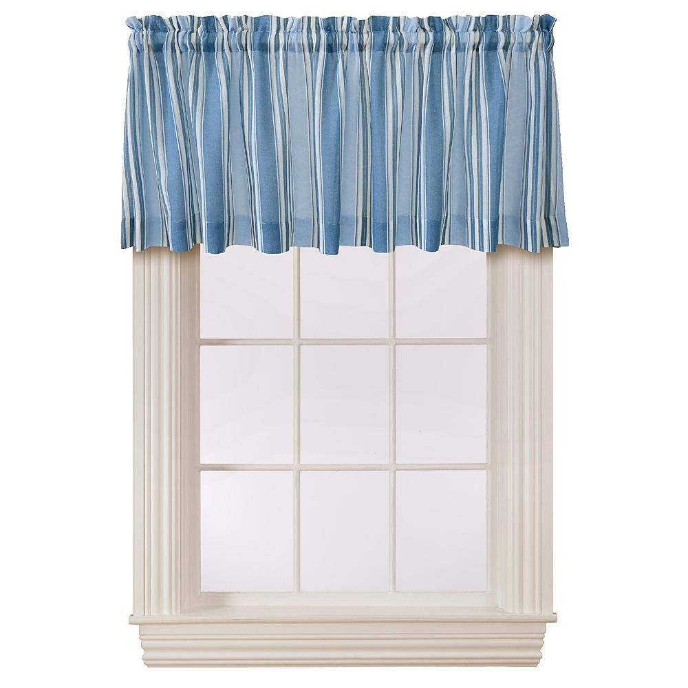 Essential home darnell stripe valance blue home home decor