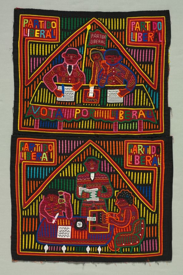 Pair of Political Party Molas (for front and back of a woman's blouse) | Cleveland Museum of Art