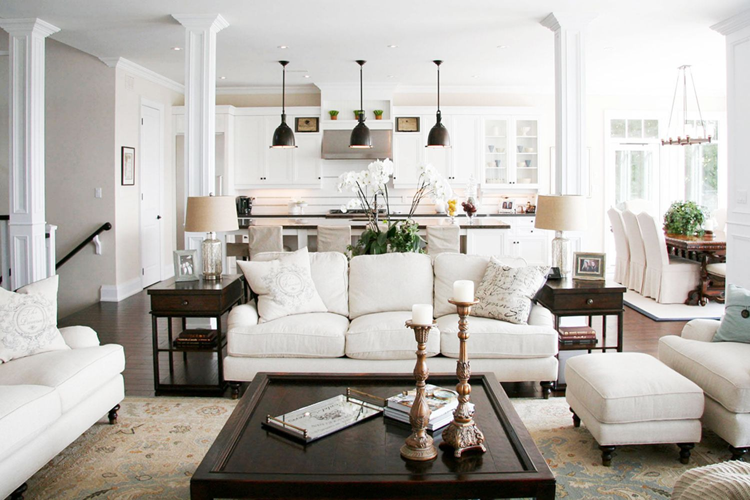 6 Design Tips For An Open Floor Plan Home Design Kathy Kuo Home Traditional Design Living Room Open Concept Living Room Traditional Living Room