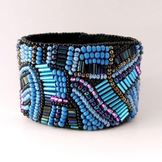 Bead Embroidered Jewelry Blue Black Dark by zufiebeadedjewelry, Kč1309.00