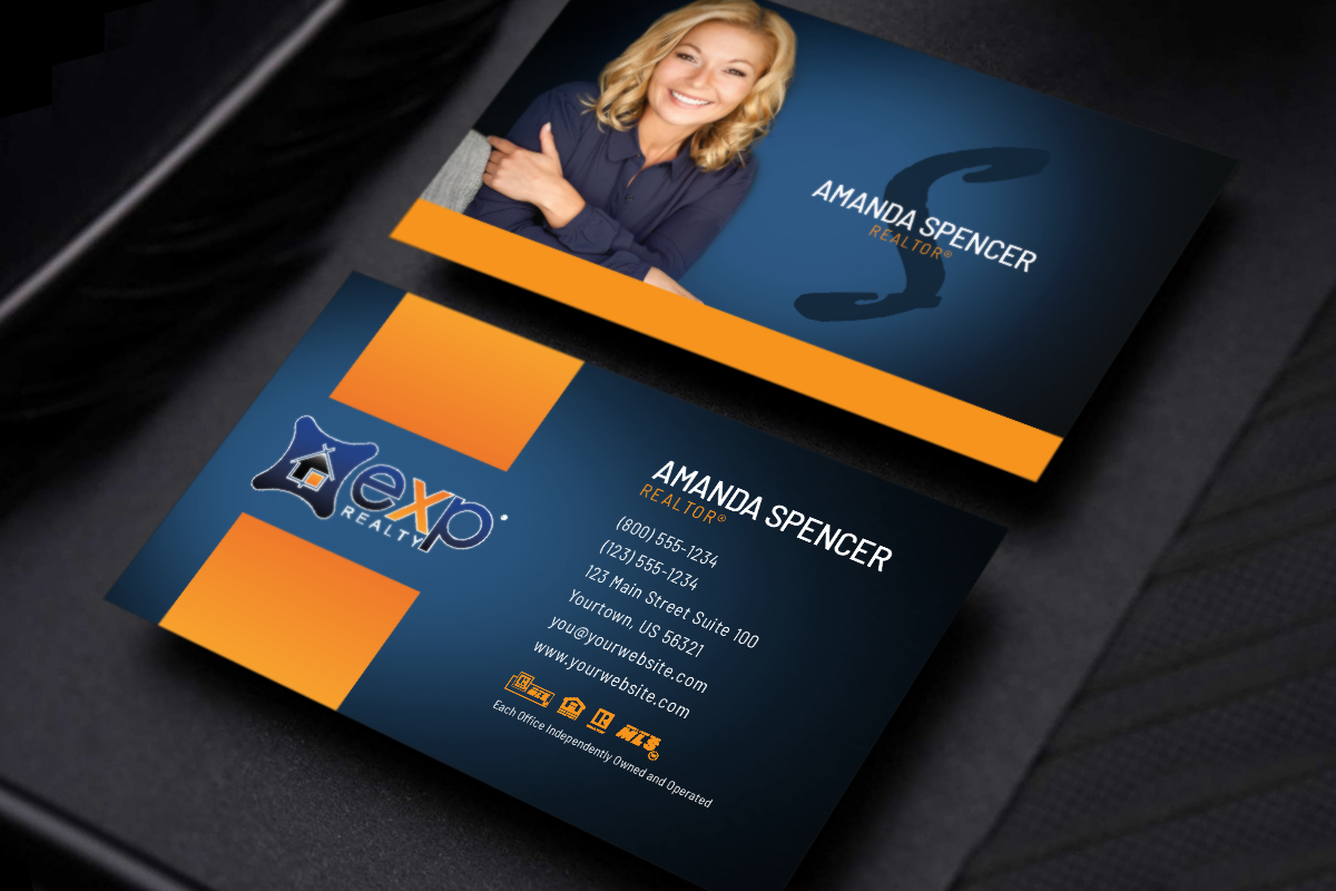 Unique Exp Realty Business Cards Can Be Created And Printed Right From Our On Site Designer Realtor Luxury Business Cards Business Cards Realtor Marketing
