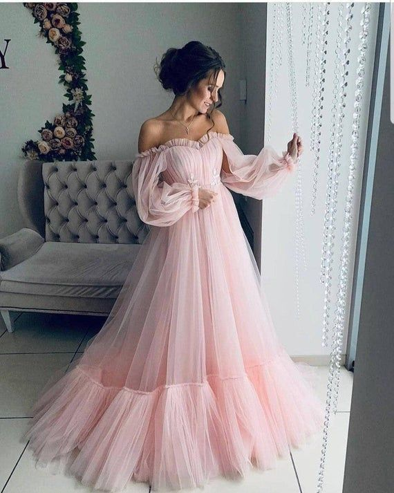Off the shoulder dress for wedding guest fluffy tulle dress for women with corset floor lengt