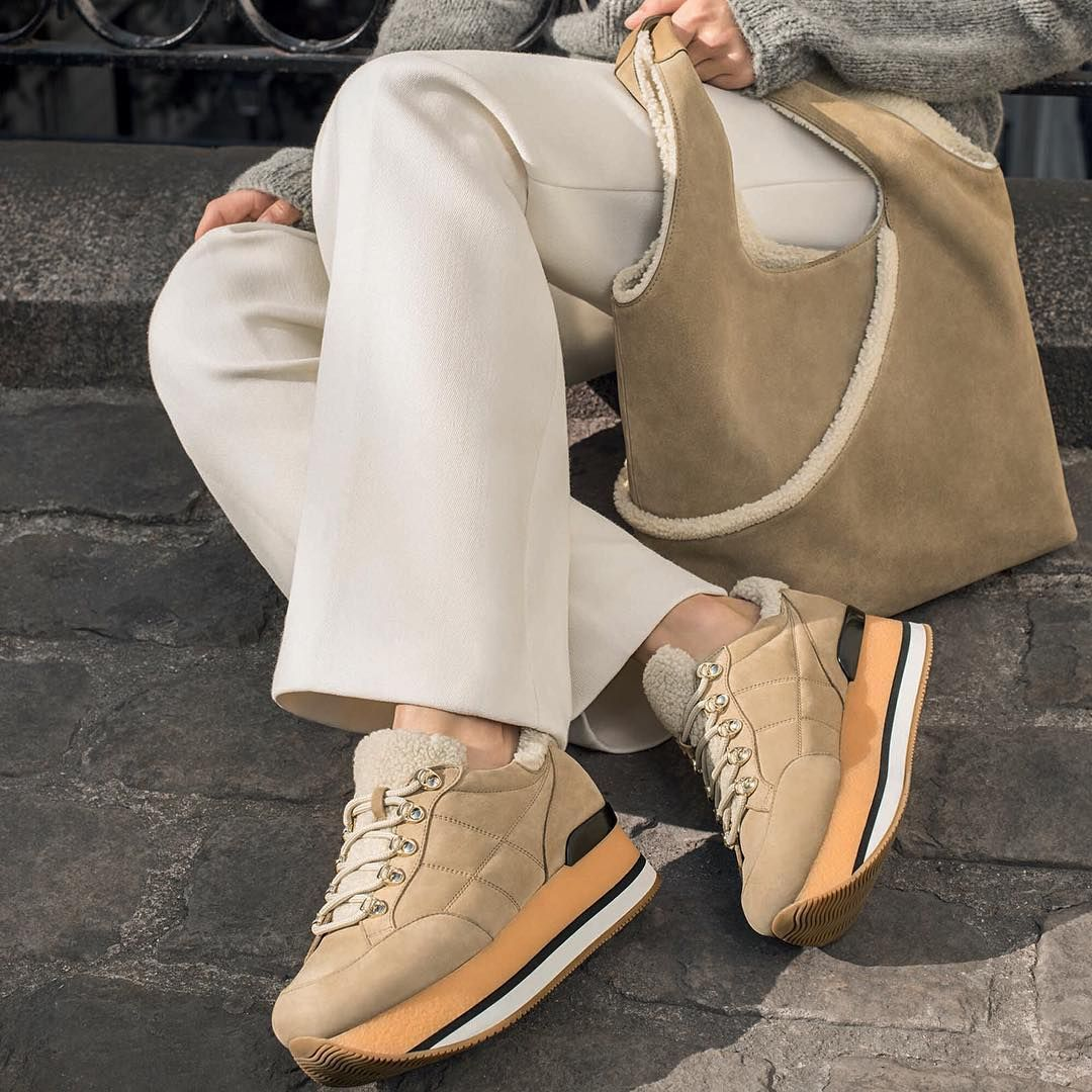 Tan on-trend #HOGAN Shopping Bag and Maxi #H222 #sneakers from the ...