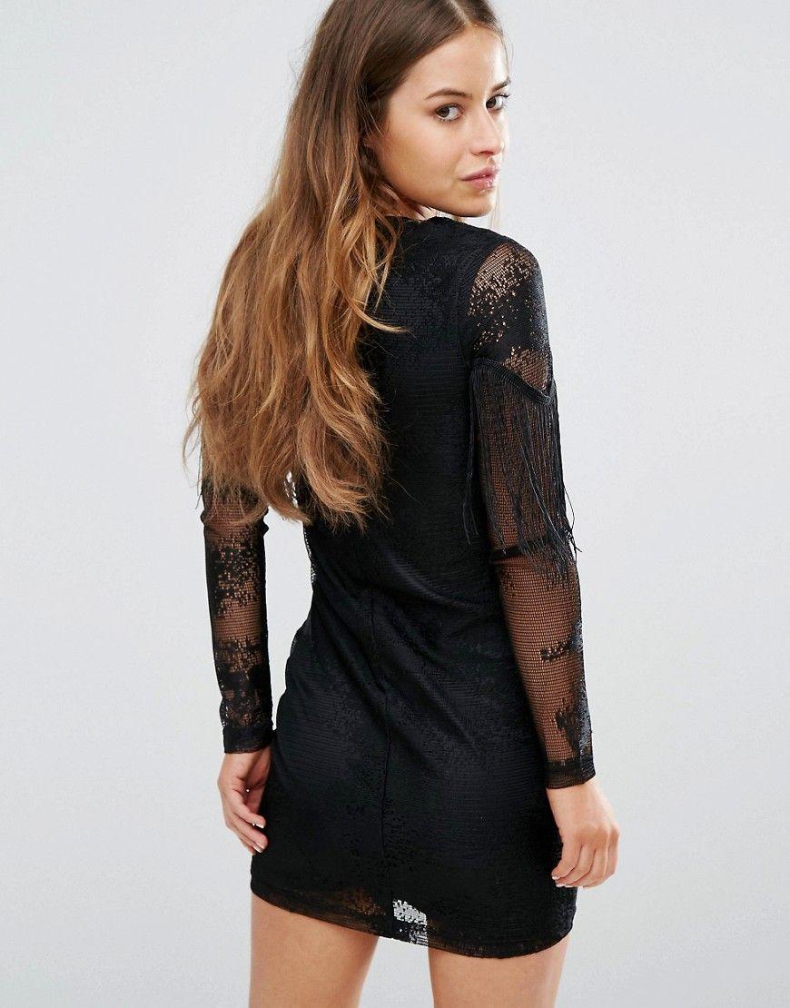 Boohoo petite mesh dress with fringing black boohoo petite mesh