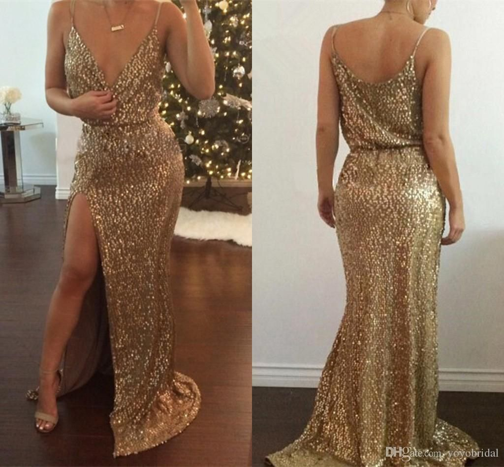 Sequin prom dress gold evening dress split evening wear vneck red