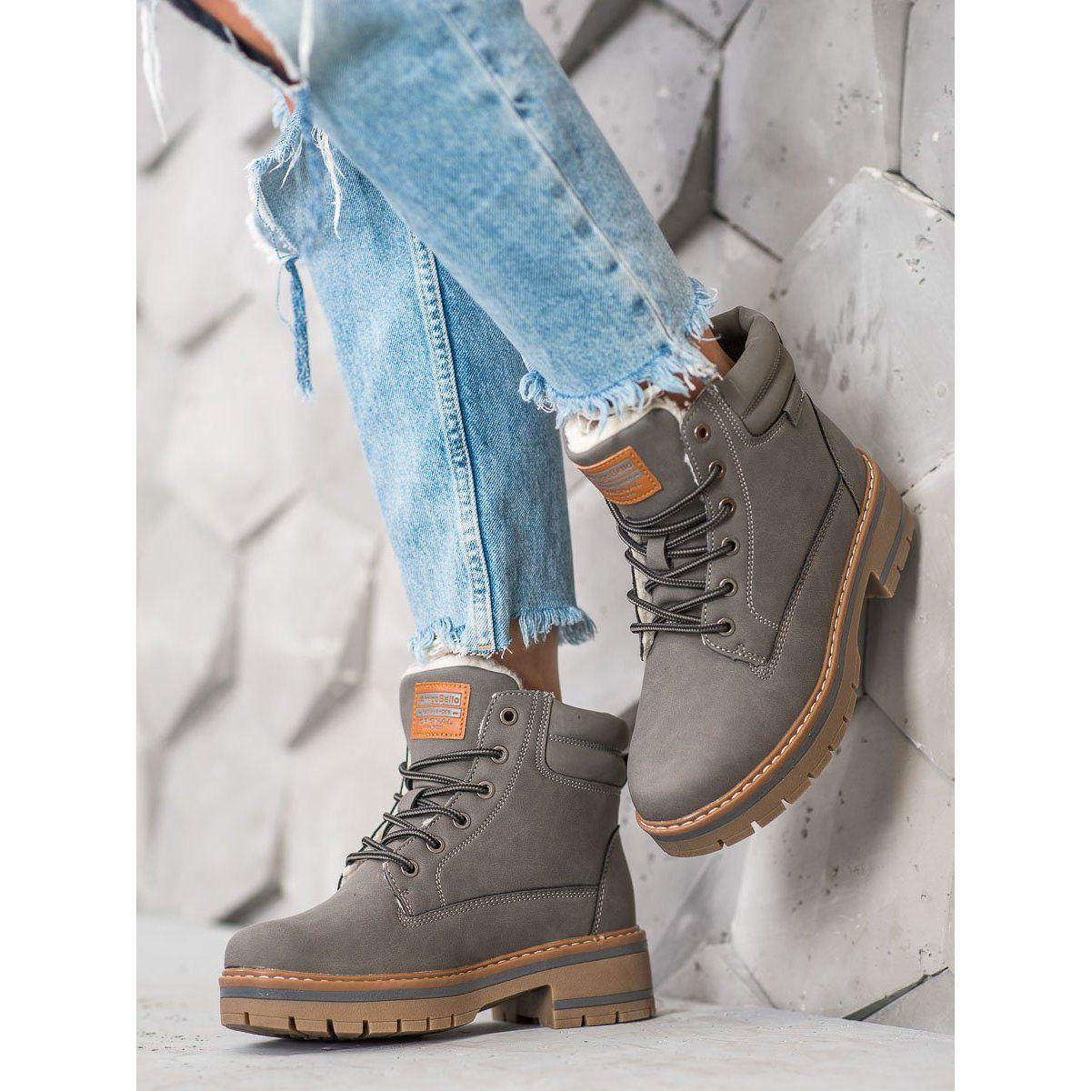 Arrigo Bello Ocieplane Trapery Szare Boots Soft Heels Boot Shoes Women