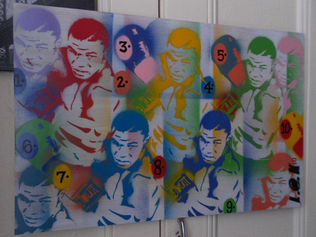 Graffiti art on wood - Mike Tyson Painting Urban Art Pop Art Stencil Art Wood Boxing Spray Paint Home Living Wall Art Champion Sport Heavy Weight Design Colours