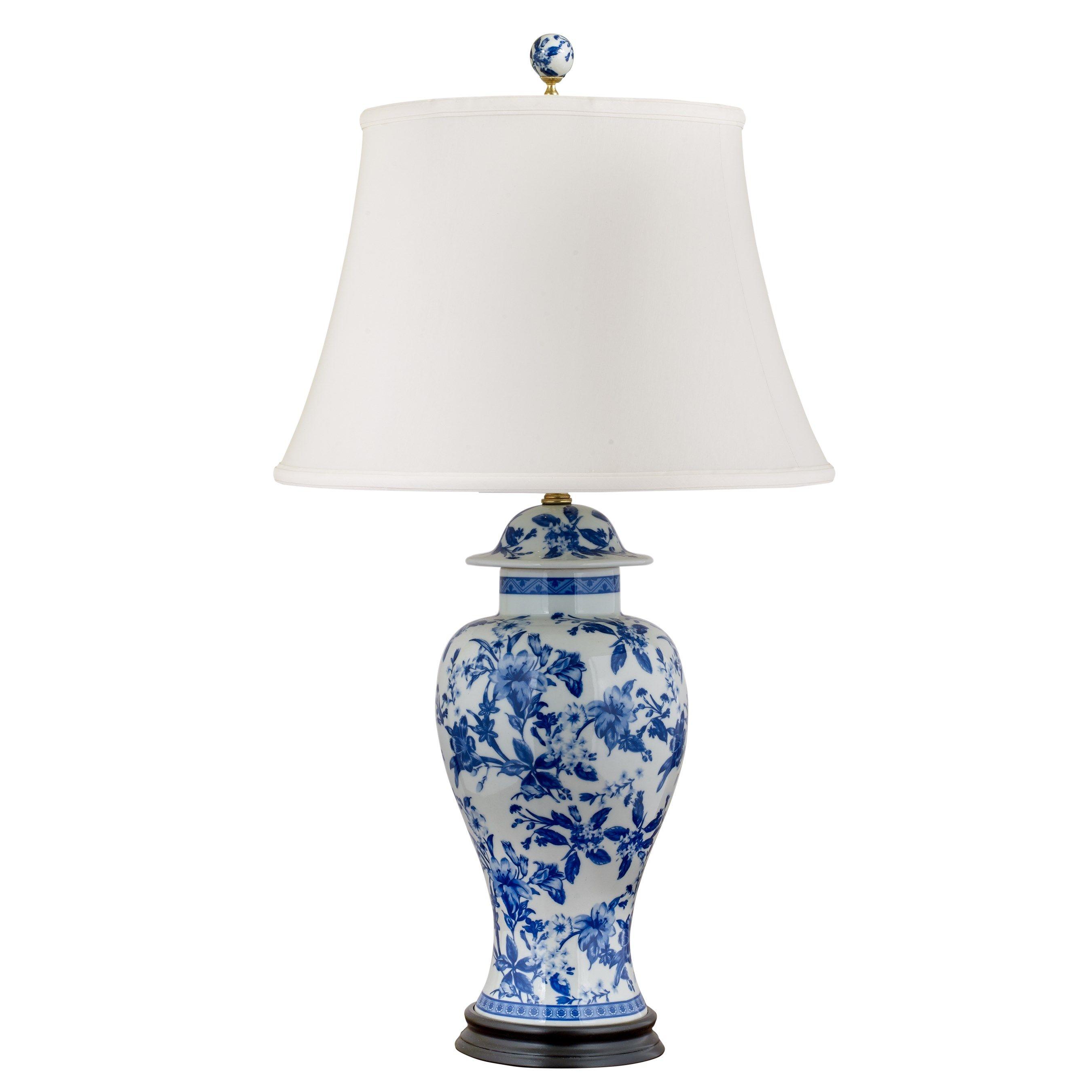 Cannon Global Blue Dragon Motif Porcelain Lucite Table Lamp Lamp Table Lamp White Table Lamp