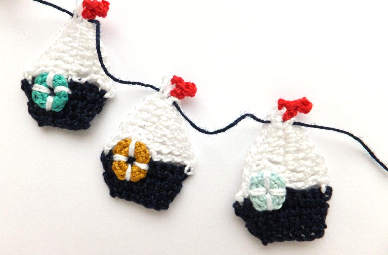 Decoração de Crochê em Barcos Guirlanda - / Crochet Garland of Boats Decoration -
