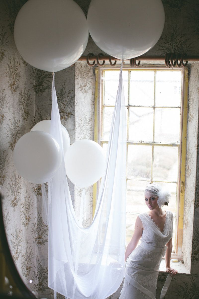 Huge round balloon floating with lace & tulle | Wedding ideas ...