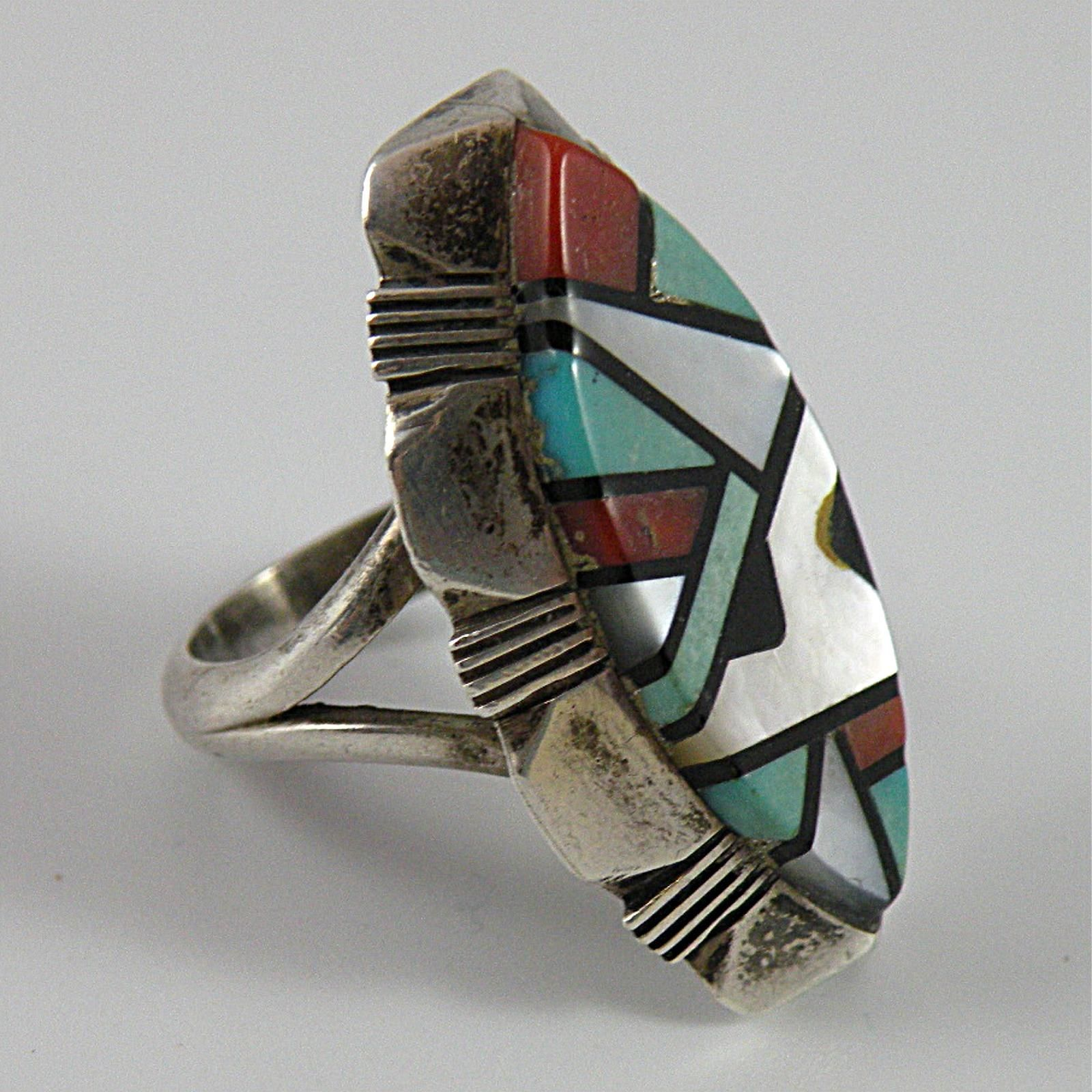 Colorful navajo channel inlay ring for women with ray jack