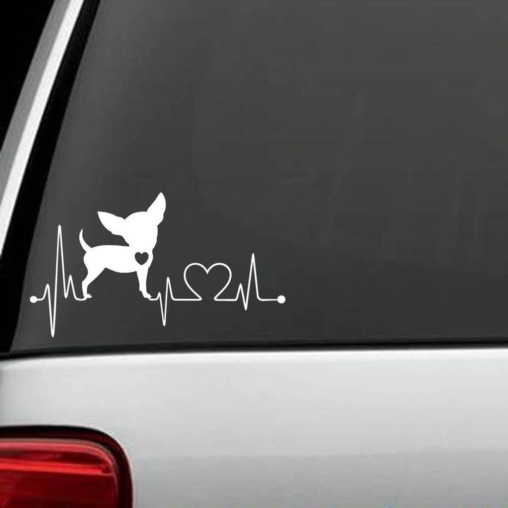 Heart Rate Chiwawa Decal Sticker Dog Decals Dog Stickers Chihuahua [ 1023 x 1024 Pixel ]