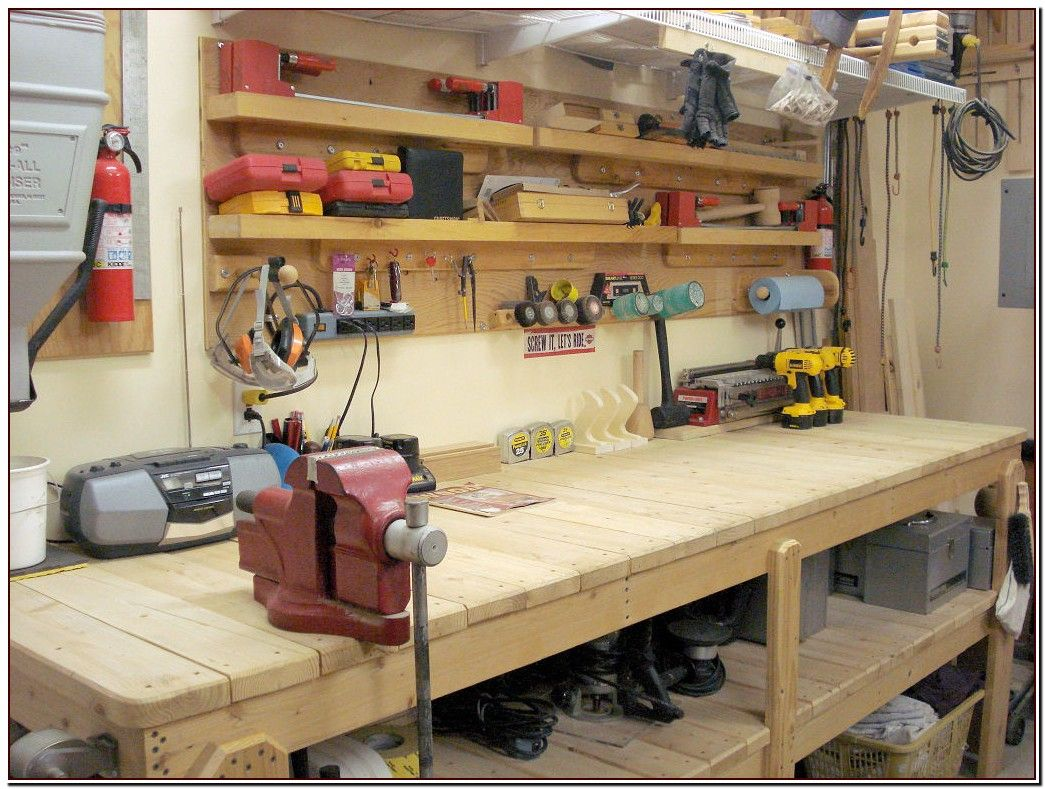46 Reference Of Bench Tool Storage Shelf Garage Workbench Plans Garage Work Bench Workshop Storage