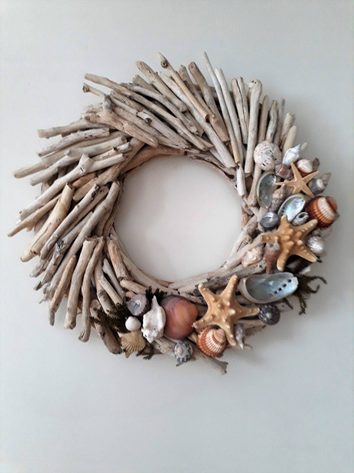 Photo of Driftwood wreath, hanging wood front door, beach decor, coast, lake, driftwood candle holder, nautical, wooden wall art, shells, cottage, rustic