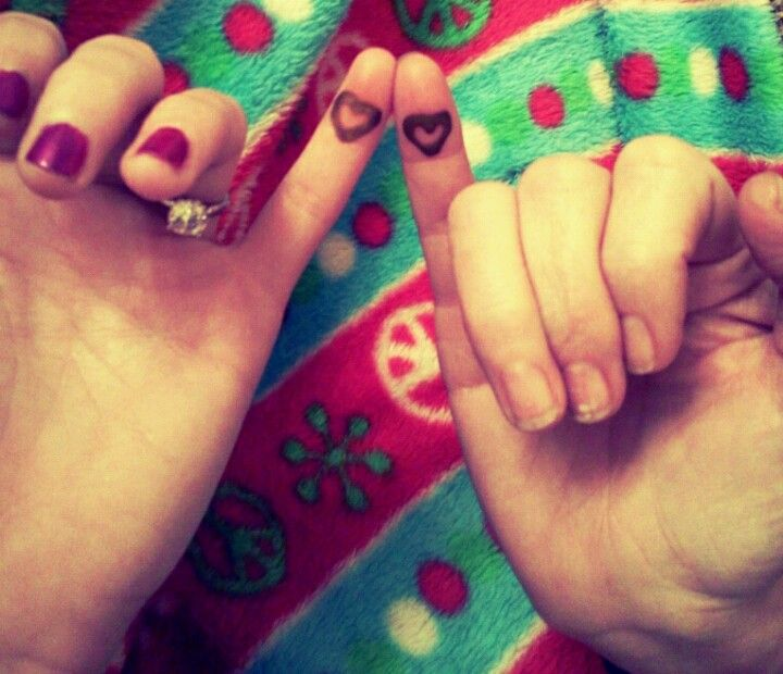 Mother daughter pinky promise tattoo hearts
