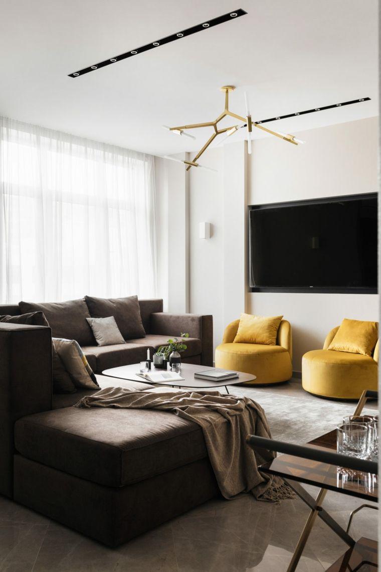 Soggiorni moderni e un arredamento semplice con due divani e un ...