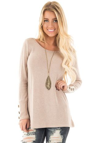Mocha Long Sleeve Knit Sweater with Crochet Cuff Detail front close up