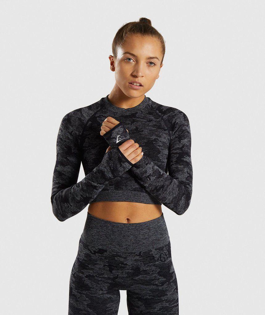 Gymshark Adapt Camo Seamless Long Sleeve Crop Top