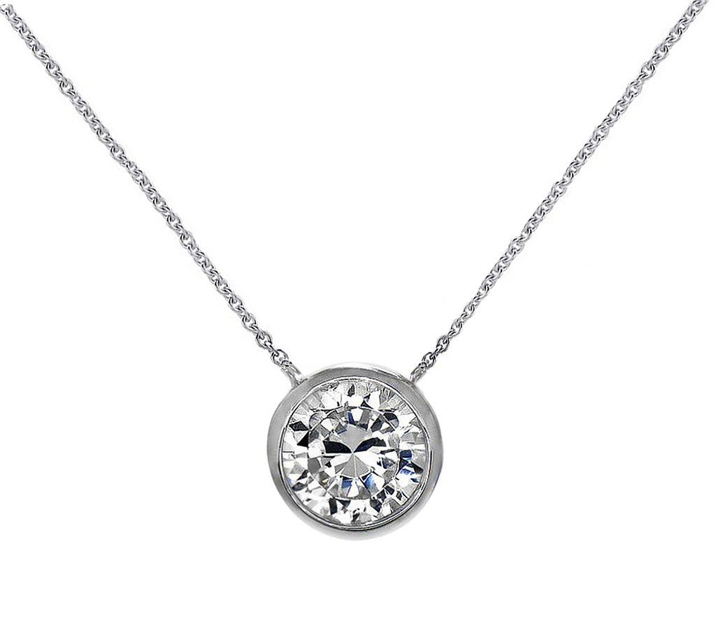 Solitaire pendant necklace sterling silver round mm cz