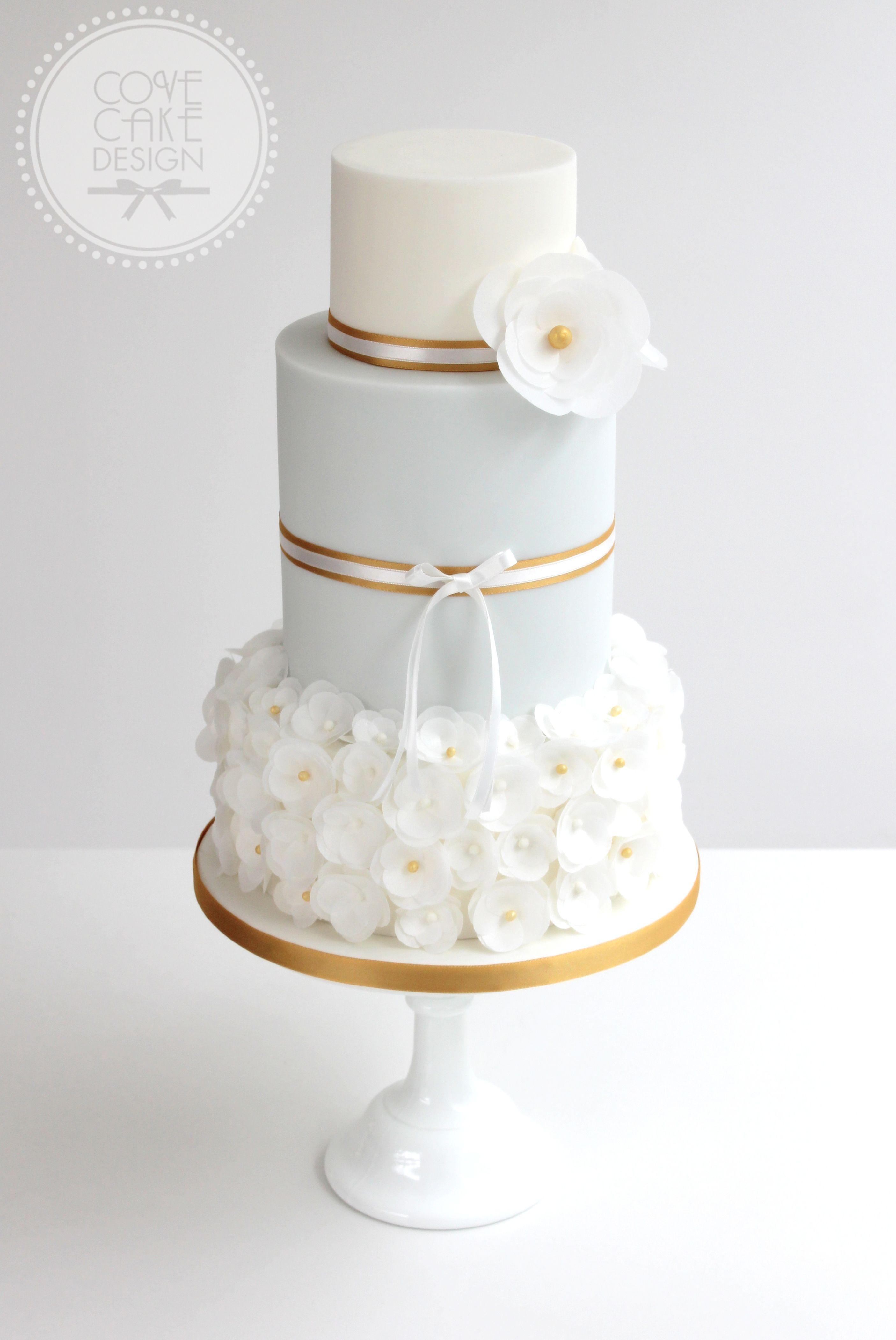 Light Blue And Gold Wedding Cake