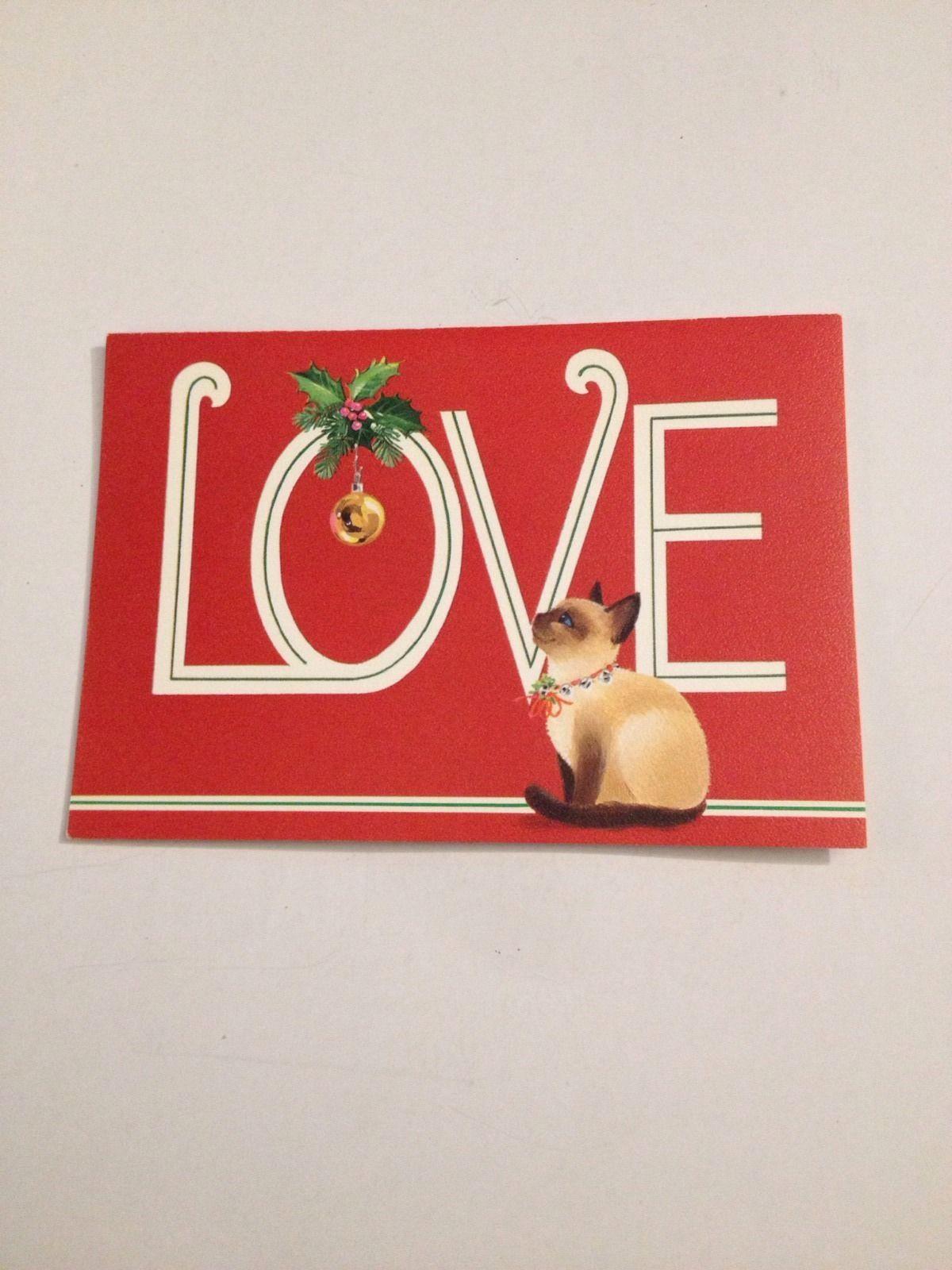 Vintage Greeting Card Christmas Love Siamese Cat Kitten Bell Ebay