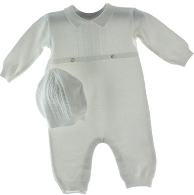 0537cf696 Infant Boys White Knit Take Home Outfit   Hat Set - Hiccups ...