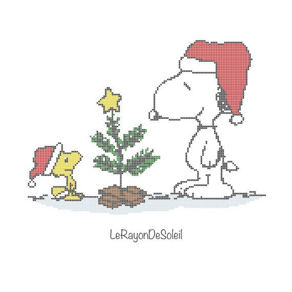 Christmas cross stitch pattern Snoopy Woodstock winter snow ...