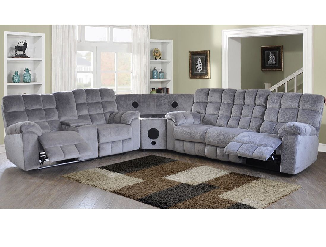 Modern Black Leather Sectional Sofa Couch Console Bluetooth Speaker Leather Sectional Sofas Sectional Sofa Sectional Sofa Couch