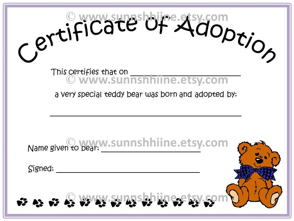 Certificate Of Adoption Teddy Bear Stuffed Animal Toy Adopt Doll Family Party Favo Birth Certificate Template Adoption Certificate Certificate Templates