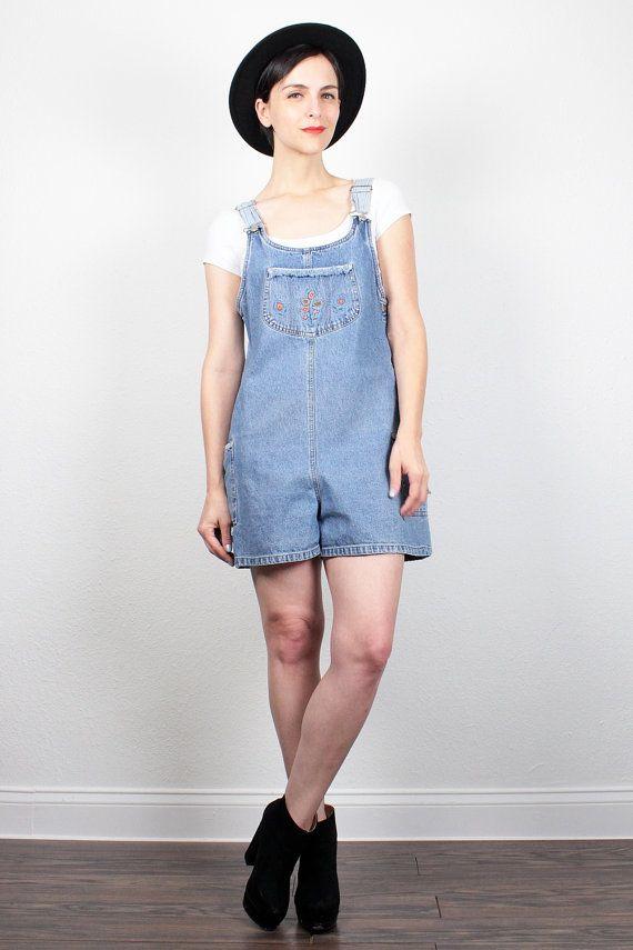 6780f07f95fd Vintage 90s Overall Shorts Blue Jean Jumper Soft Grunge Floral Embroidered Overalls  90s Denim Shortalls Romper