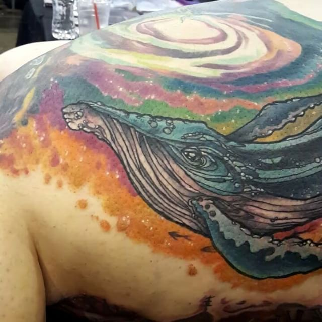 Did this rad space whale today at the Philadelphia Tattoo Arts Convnetion. #philadelphiatattooartsconvention #whaletattoo #oxiloxdotcom #oxilox #oxitattoos #oxiinspace