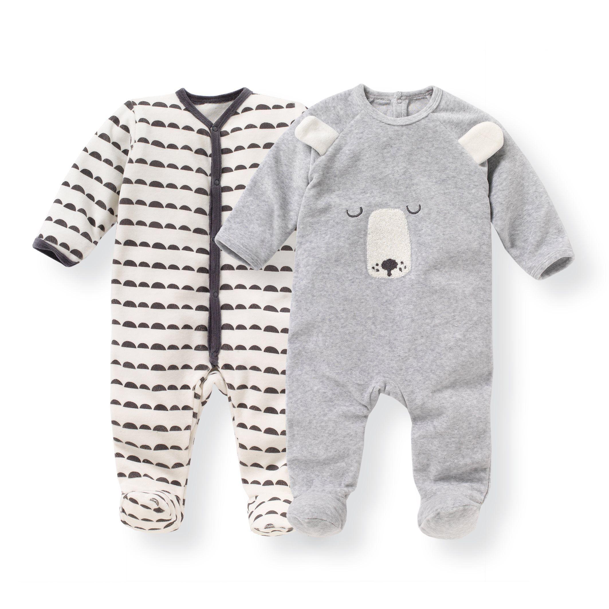 807d6a327118b Pyjama velours 0 mois-3 ans (lot de 2) R Mini imprimé + gris chiné   La  Redoute
