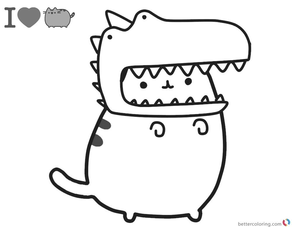 I Heart Pusheen Dino Coloring Page Dinosaur Coloring Pages Cat Coloring Page Unicorn Coloring Pages