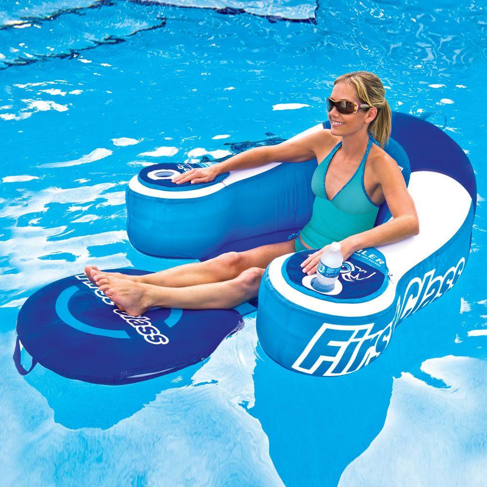 The Drink Cooling Pool Lounger Hammacher Schlemmer