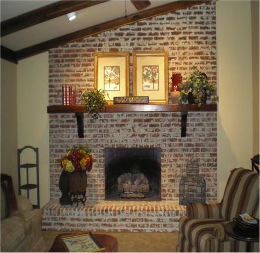 I Wonder If I Could Take Mine Down Sand And Stain It To Match The Finish Of My Furnit Brick Fireplace Mantles Brick Fireplace Makeover Exposed Brick Fireplaces