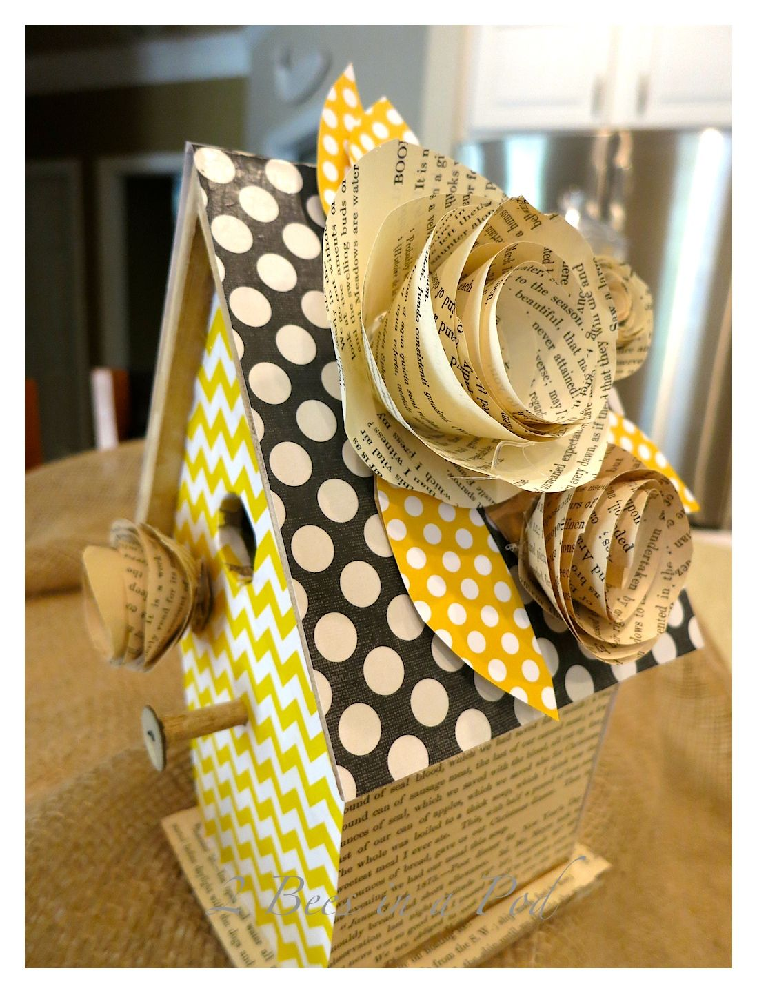 Hey there friends. I wanted to share with you a cute gift that I made for Jennifer. I decorated a store bought birdhouse for her living room and I loved the way it turned out. Remember a couple of weeks ago I shared how to make book page flowers? You can see that tutorial here. …