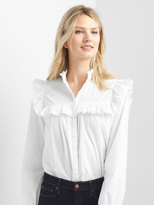 72054e066 Gap Womens Oversize Ruffle Trim Shirt White | Products | Ruffle ...
