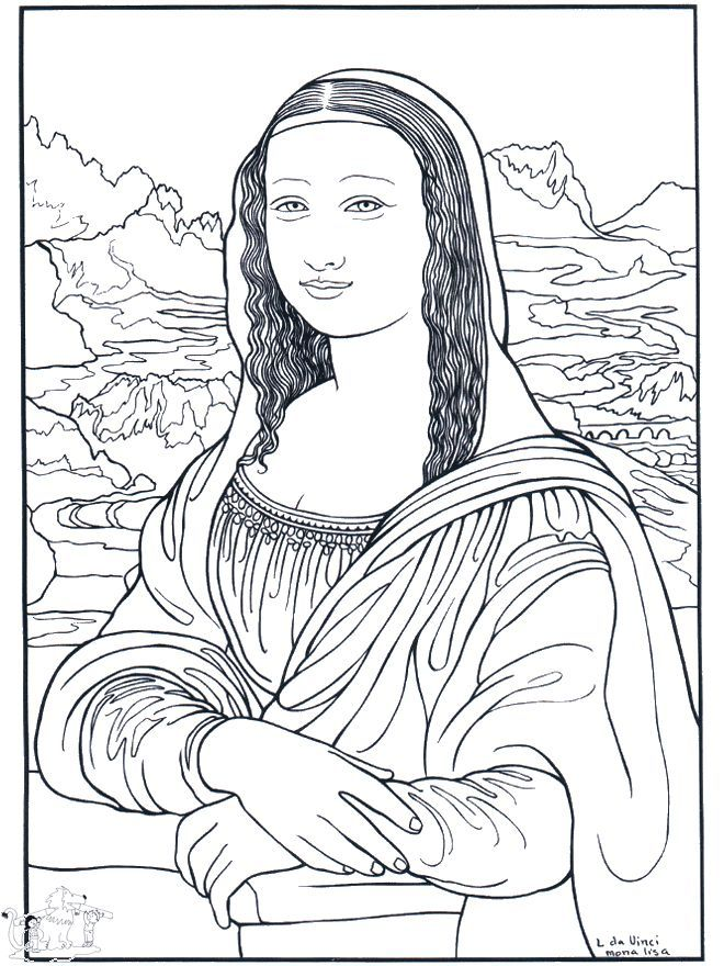 coloring pages from real artists - Mona Lisa Coloring Page Printable