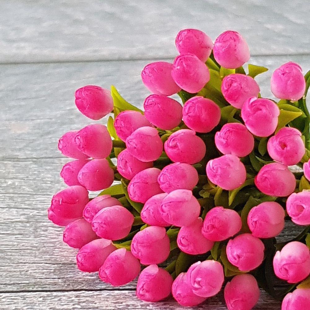 Pink Tulip Clay Flower Dollhouse Miniature Garden Handmade Decor Collectible