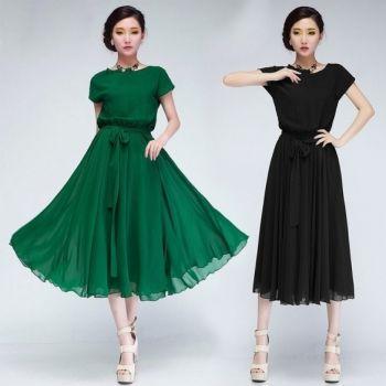 New Arrivals Fashion Spring Summer Asymmetric Women Slim Casual Chiffon Dress Bohemian Style Bow Beach Dress